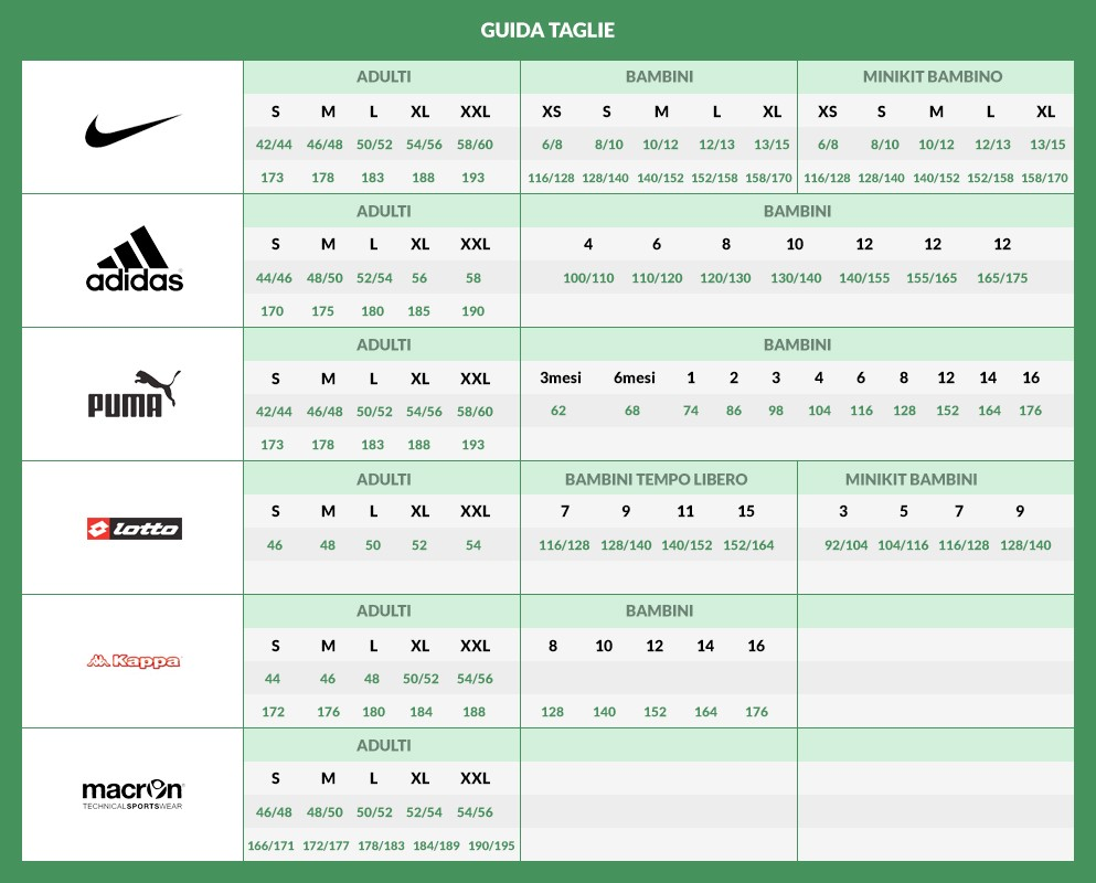 adidas misure scarpe calcio